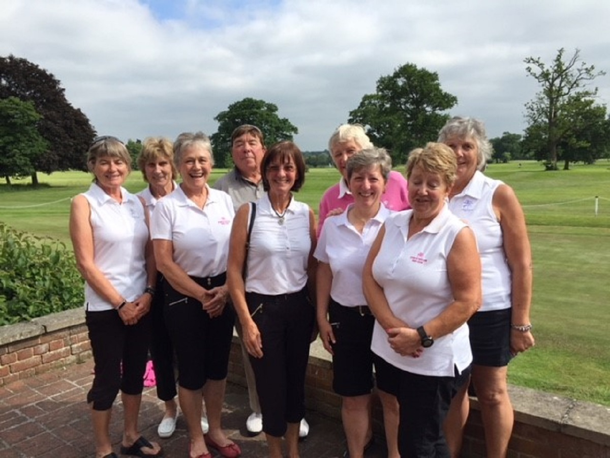 Triumphant - Stoke by Nayland Golf Club Ladies' winning Bronze team and caddies. Back: Barbara Jones, Maryan Griffith, Bob Hutchinson, Lesley Garnett, Roz Clements. Front: Lesley Hitchcock, Nora Hutchinson, Corinne Jackson, Debbie Howlett