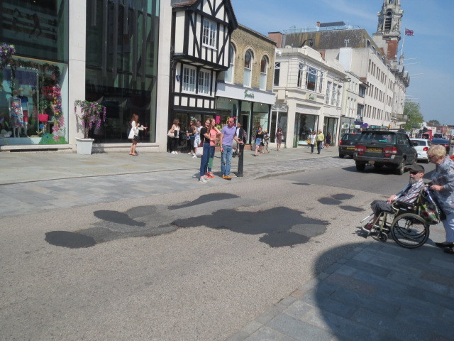 Patchwork - resurfacing work is set to be completed in Colchester High Street tonight  Picture: Robert Mercer