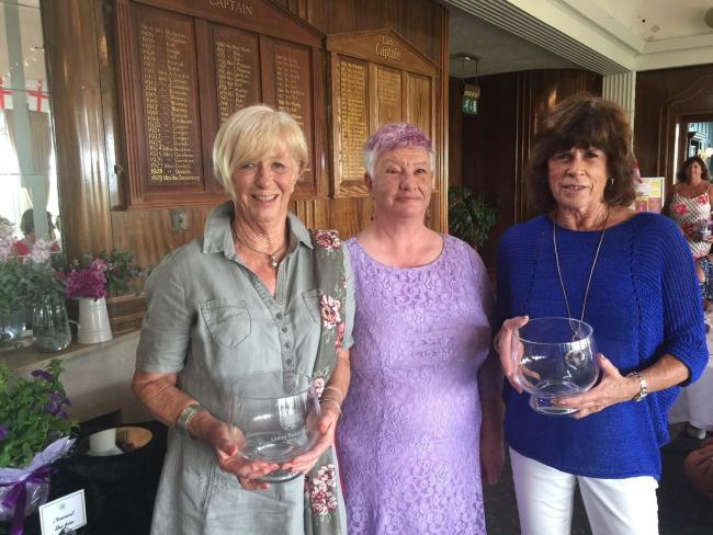 Winning duo - Ginny Richardson (left) and Sally Caerns (right) with Frinton lady captain Marilyn Clarke