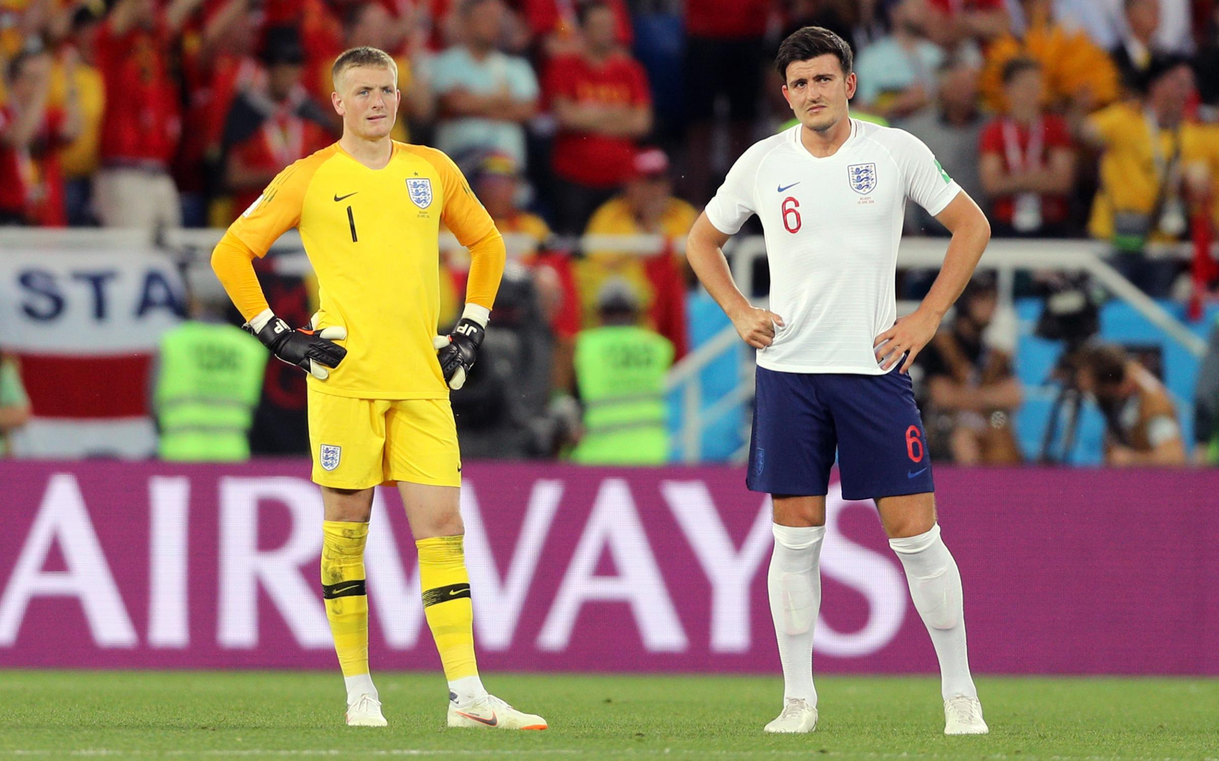 Support - England goalkeeper Jordan Pickford (left, with defender Harry Maguire) was always destined to make it to the top according to his former team-mate Mikael Mandron Picture: OWEN HUMPHREYS/PA WIRE