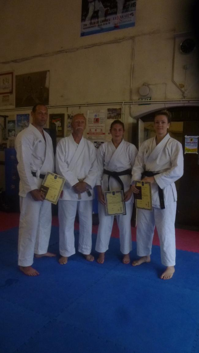Terrific trio - Western Karate Union's Beth Smith, Lily Hopkins and Jim Smith following their Dan Grading success with 8th Dan Les Birkin