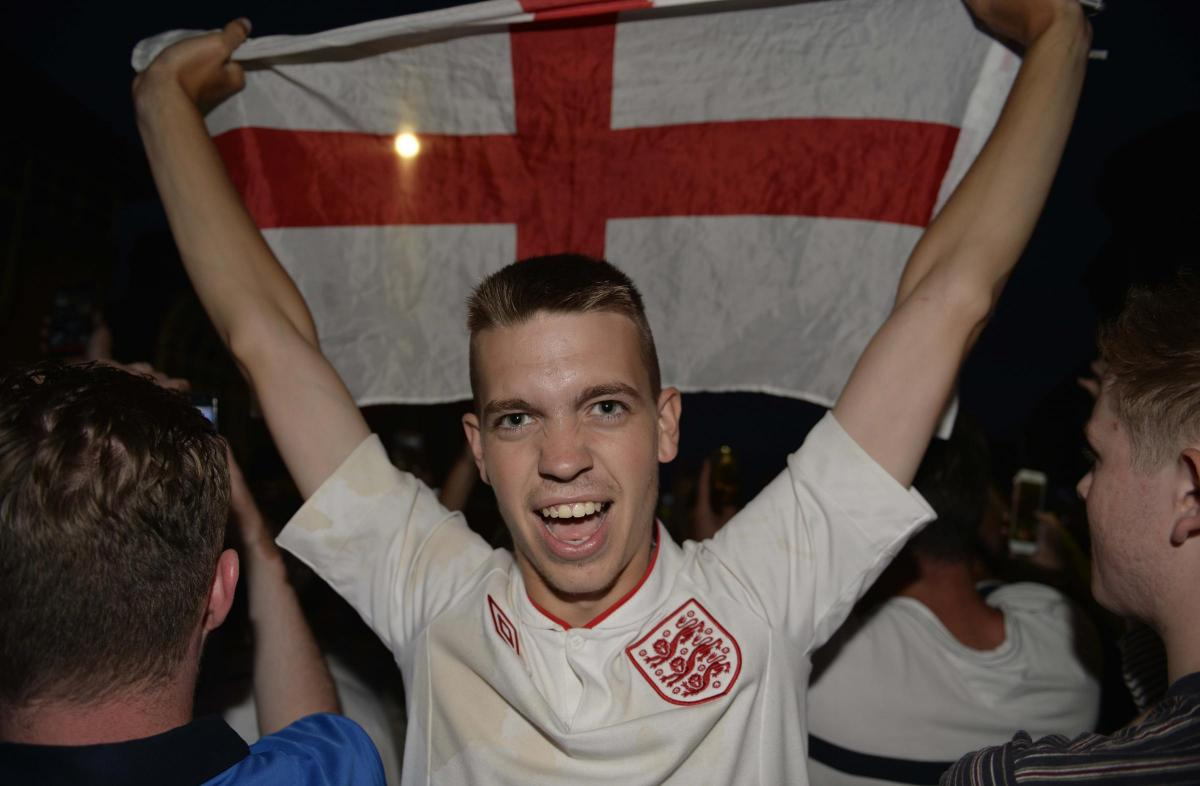 Colchester celebrations after England beat Colombia on