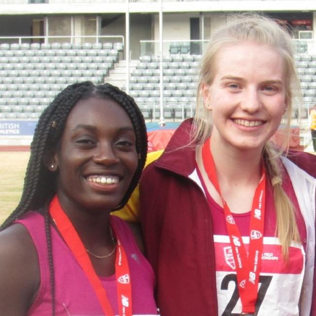 County pride - Colchester Harriers duo Joy Ogunleye and Rebecca Jeggo at the English Schools Championships in Birmingham