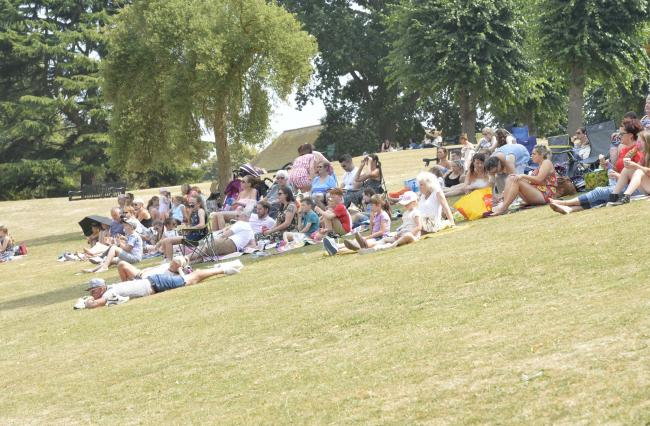 Beauty and the beast film on show on the big screen in Castle Park, Colchester..