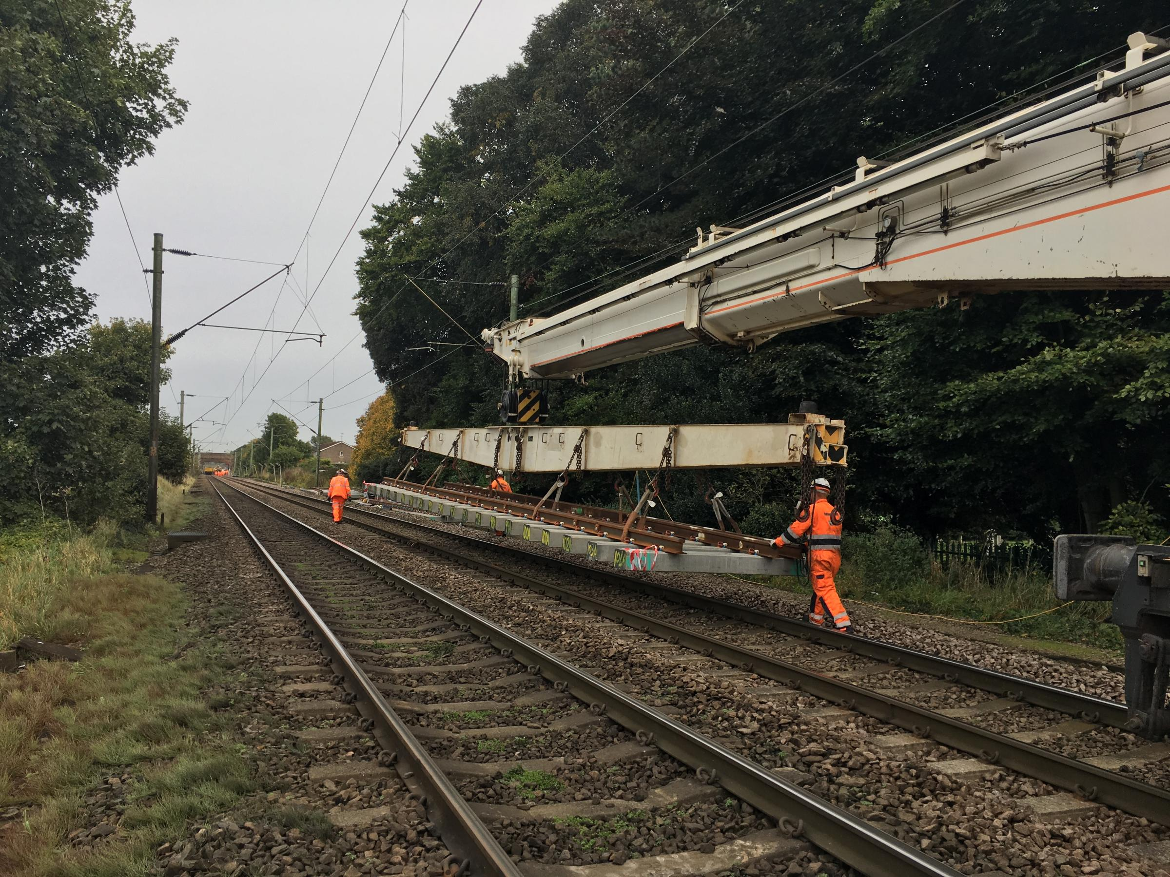 New track on its way to a site. Picture: Network Rail