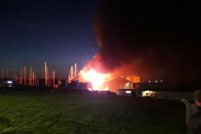 The fire broke out at Holyhead Marina on Thursday night