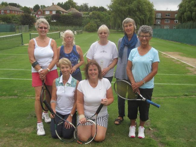 Ace effort - Wivenhoe Tennis Club's Ladies A team celebrating their promotion to Colchester and District Summer League division one