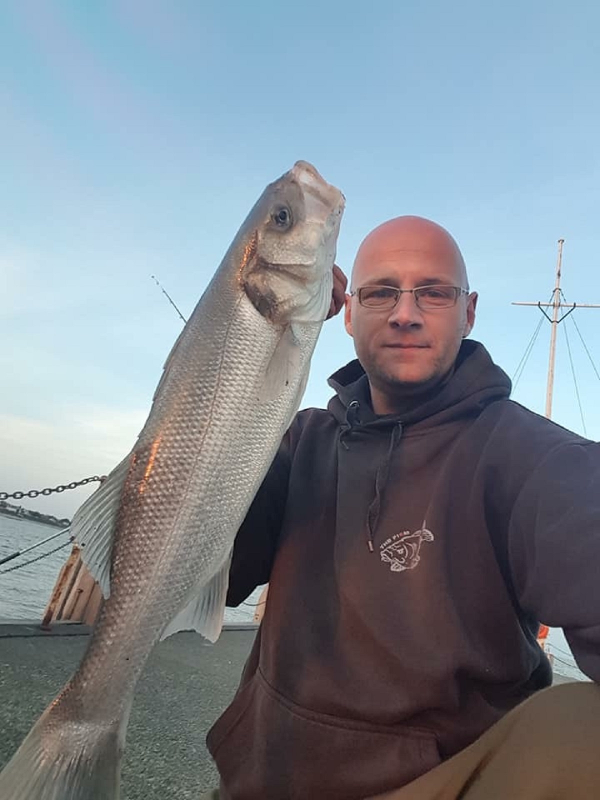 Successful spell - Gary Coward with his biggest bass, caught on a squid bait from Clacton Pier