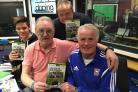 Steve Foley with Kevin Beattie, during a trip to the BBc Radio Suffolk studios in 2016