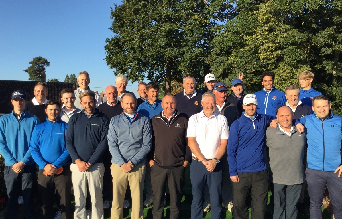 All together now - the Ryder Cup teams prior to tee-off at Colchester Golf Club
