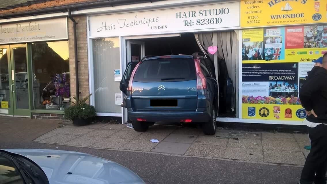 The car crashed into the hairdressers
