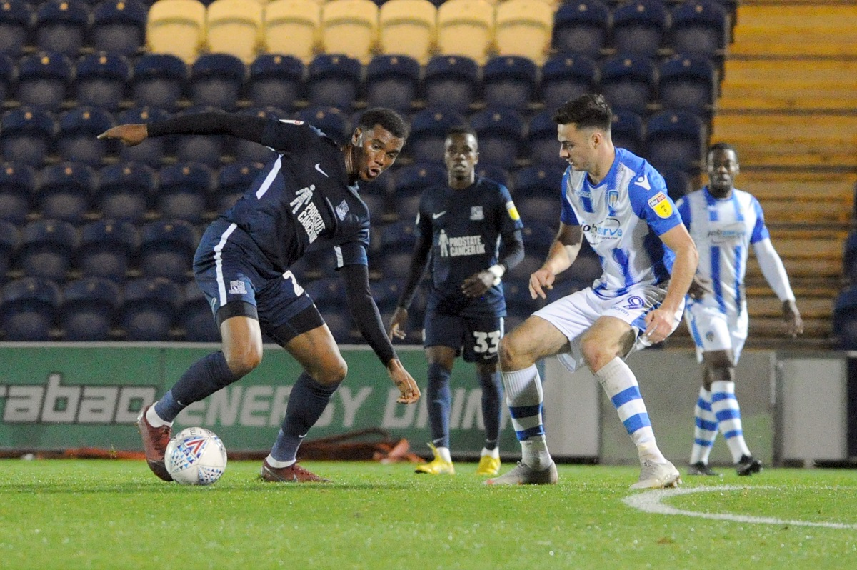 On target - Aaron Collins (right) in action for Colchester United against Southend United in the Checkatrade Trophy Picture: LUAN GROOM
