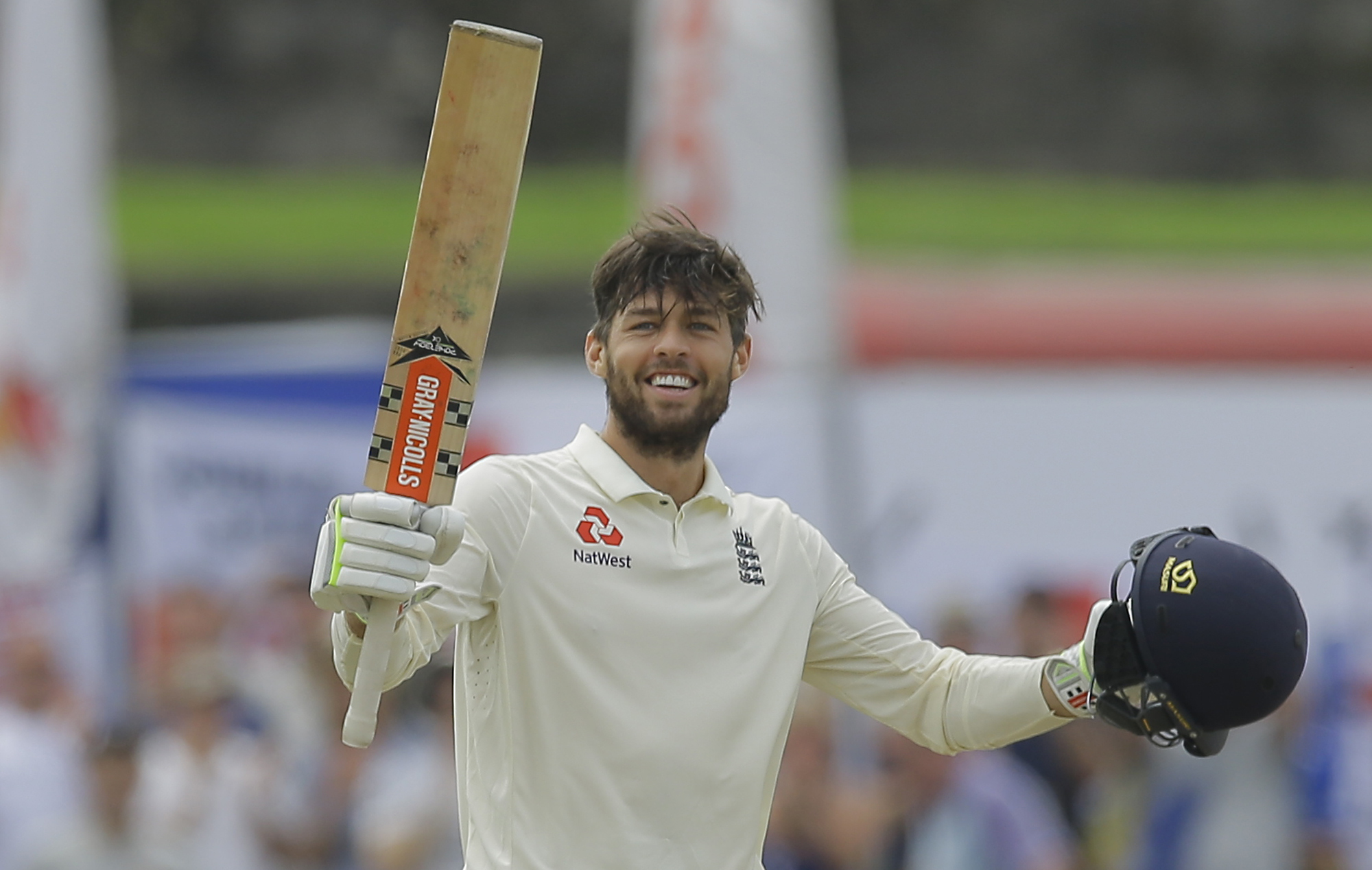 Joy - Colchester's Ben  Foakes celebrates his century against Sri Lanka Picture: AP Photo/Eranga Jayawardena