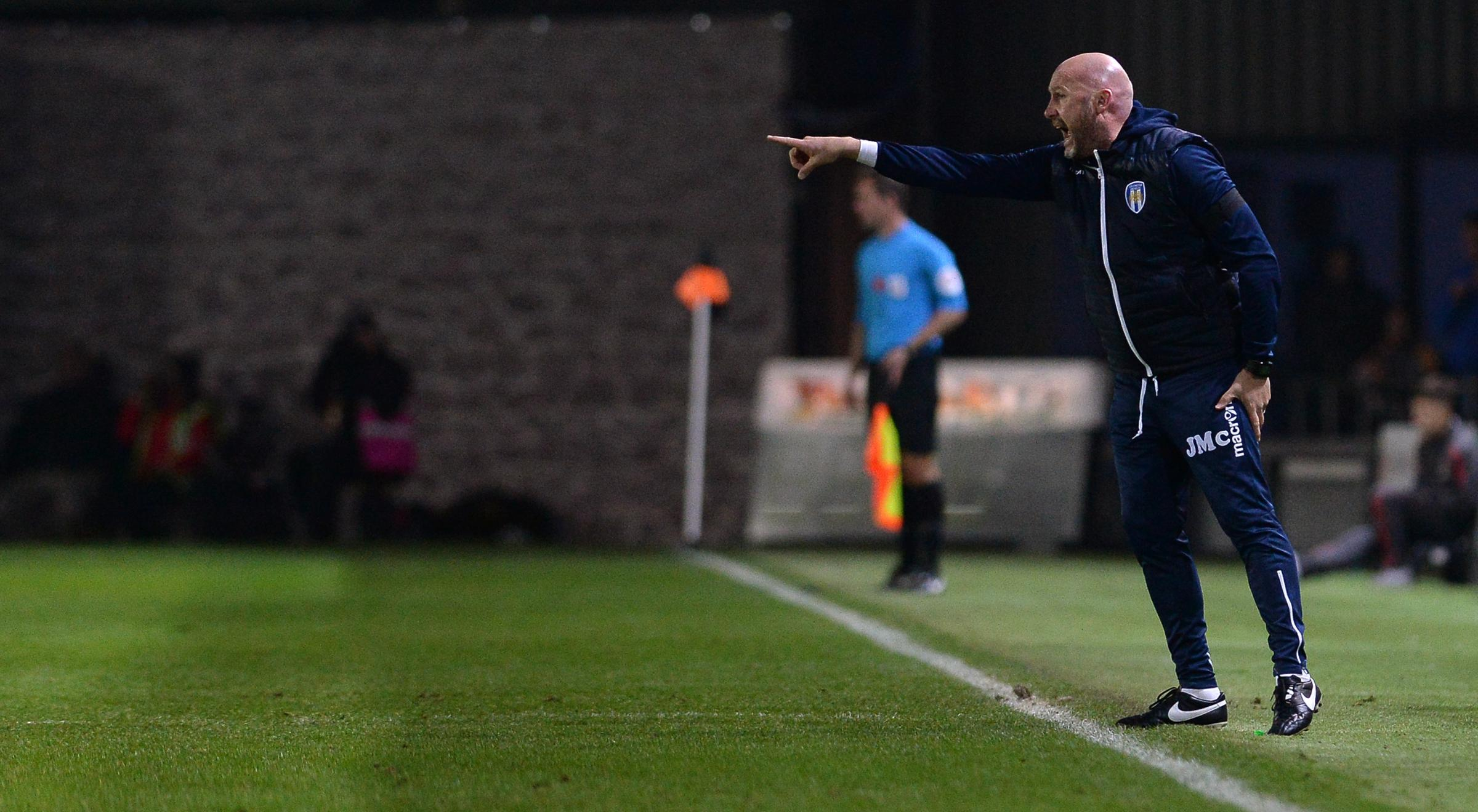 Guidance - Colchester United head coach John McGreal pointing the way at Newport County Picture: PAGEPIX