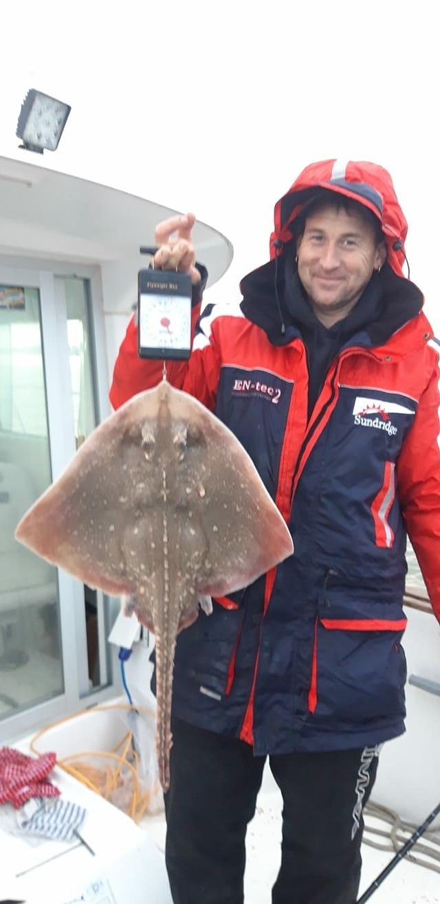 Successful trip: Martin Smyth with a typical-size thornback ray caught from the Brightlingsea coast.