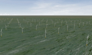 A computer image of the proposed Thames Array wind farm