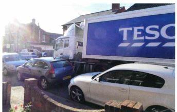 Busy - a Tesco lorry tries to navigate Causton Road