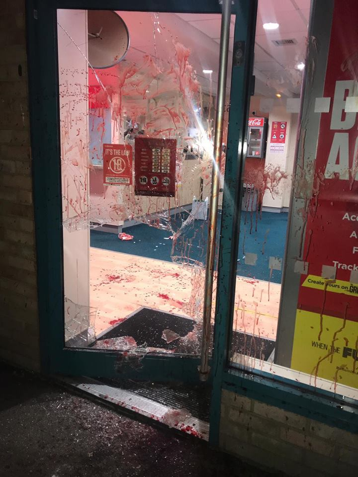 Betting shop left smeared in blood after glass door smashed