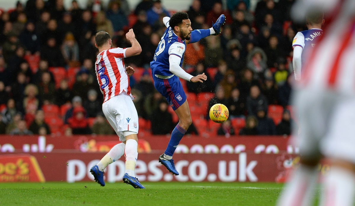 Town striker Jordan Roberts in action at Stoke Picture: Pagepix