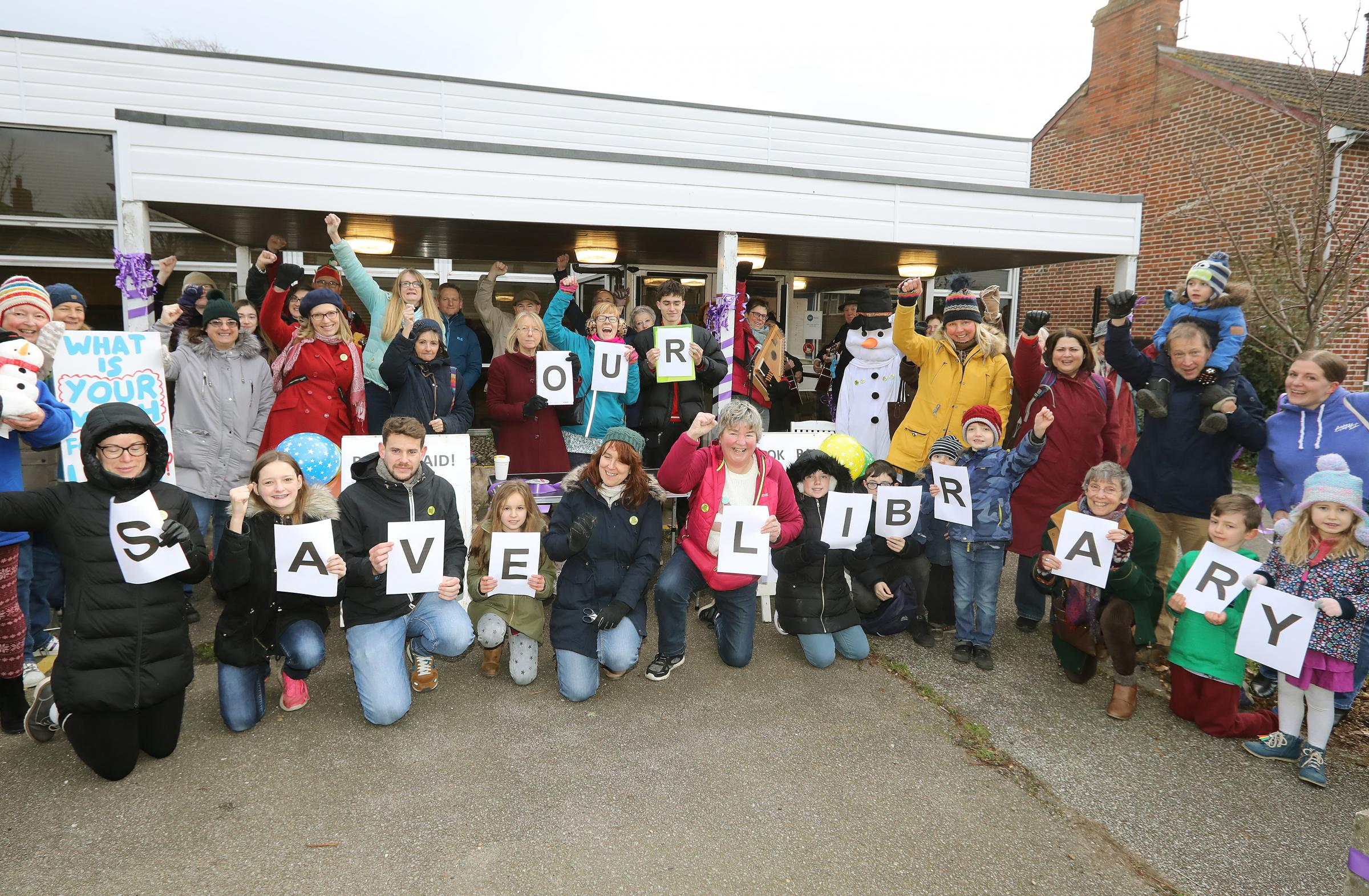Lively - families voiced their opinions outside Wivenhoe Library on Saturday