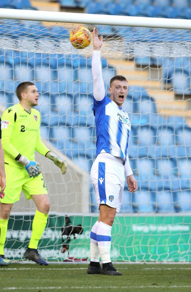 Frustration - Colchester United striker Luke Norris appeals to the referee for a decision during his side's 0-0 draw with Morecambe Picture: STEVE BRADING
