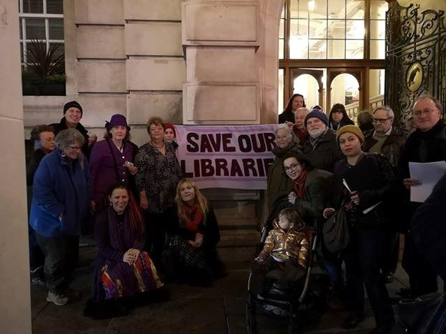Protest - members of Save Our Libraries in Essex (SOLE) protested at a Colchester Council meeting