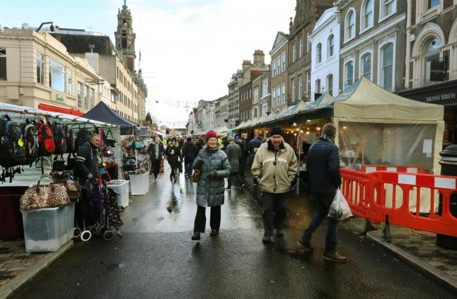 The high street was closed for Colchester's Christmas Market