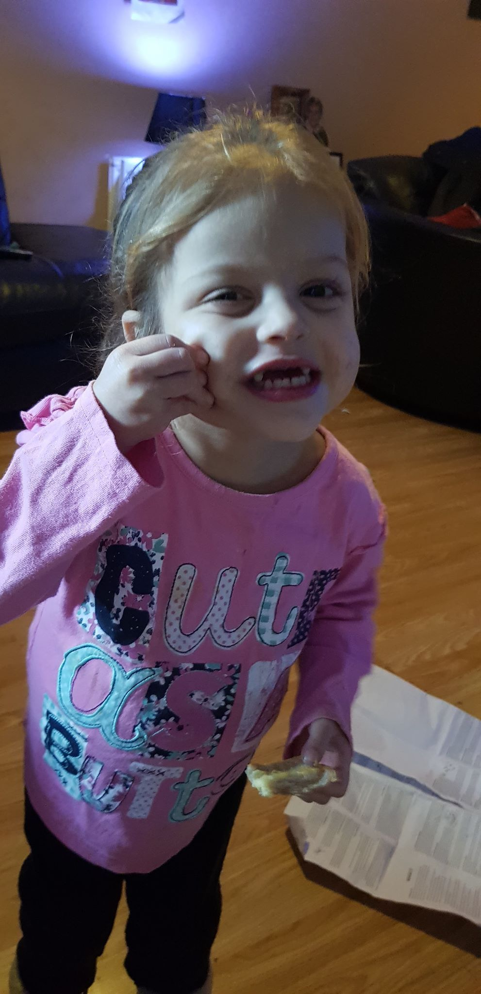 Cheeky - Isabella with her front teeth removed