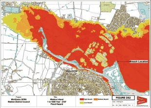 Community under threat - the red areas represent a high risk of flooding