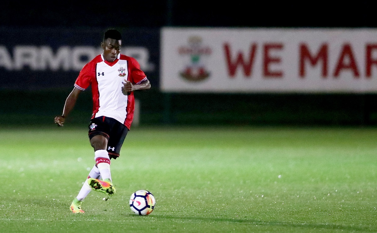 Richard Bakary during the Southampton Senior Cup match between Southampton FC and Queens Keep, at the Staplewood Campus, Southampton, 15th November 2017.
