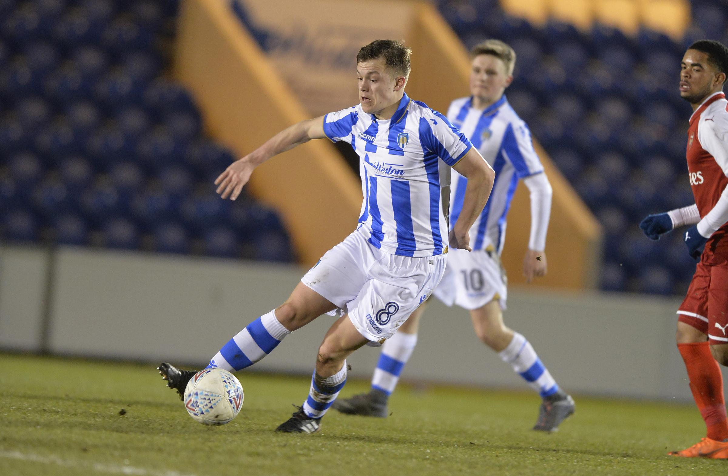 Assist - Callum Anderson provided the pass for Jake Hutchinson's second goal for Colchester United under-18s against Watford Picture: STEVE BRADING
