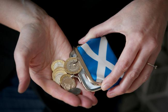 Coins in a Saltire purse.