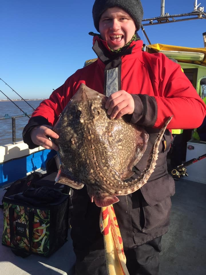 Cracking catch: Colchester angler Lee Grego with this thornback ray, caught from the Mersea charter boat Enterprise.