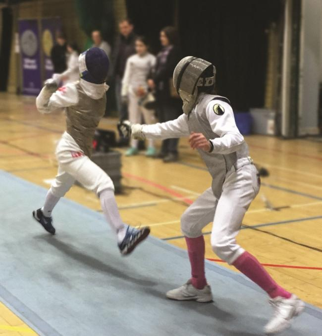 Erin R (on the right) U14 women's foil