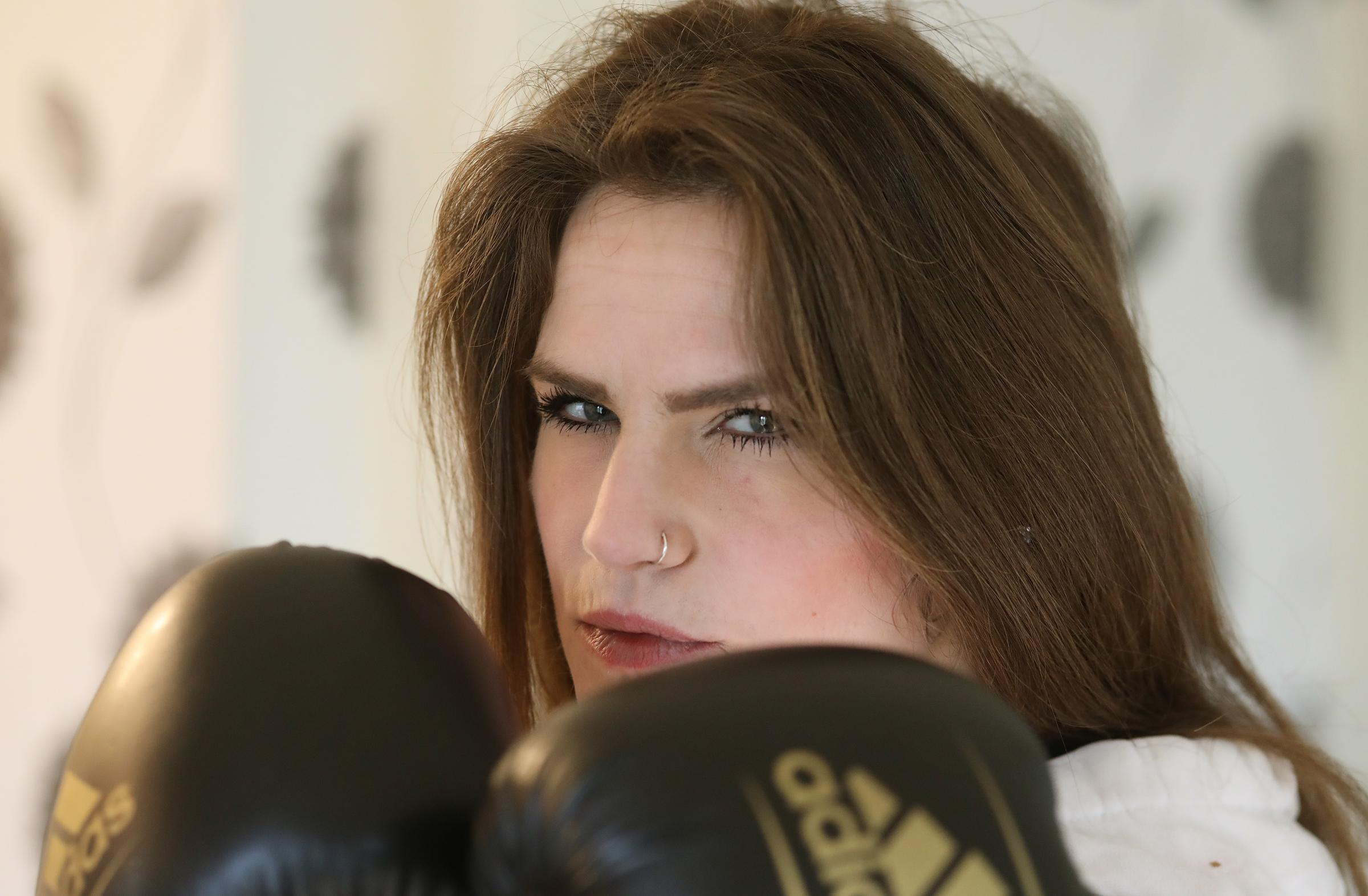 Natassja Guinsberg (corr) from Mistley, getting ready to box for charity.