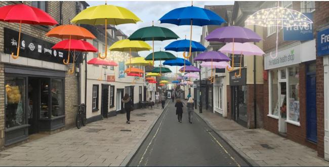 Impression - how the 200 umbrellas could look in Sir Isaac's Walk,Colchester