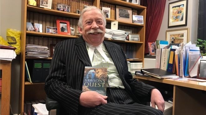 Proud - Jugde Charles Gratwicke with his book, Sawson's Quest