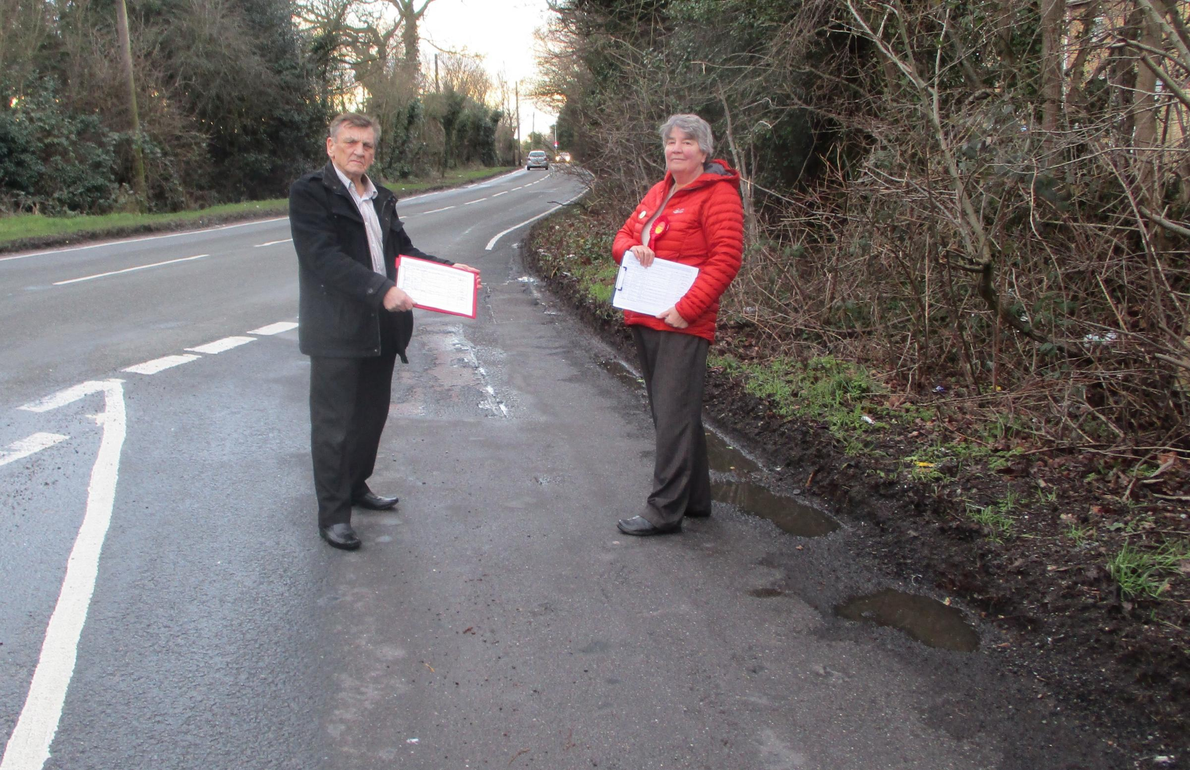 Warning - councillor Dave Harris and prospective Shrub End councillor Rosalind Scott in Maypole Green