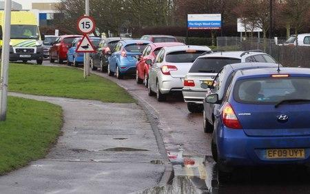 Chaos - the car park at Colchester Hospital is always busy