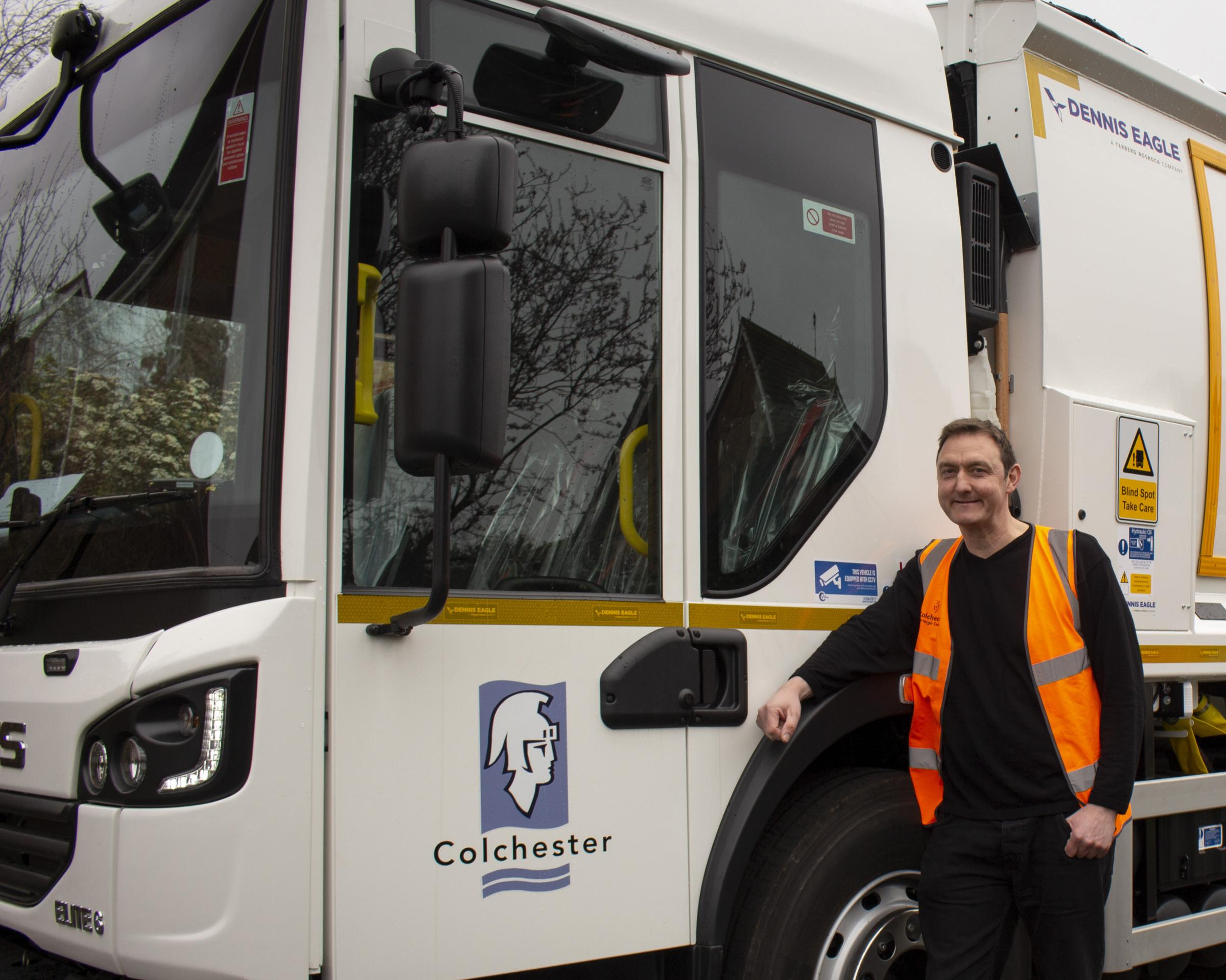 Innovation - Martin Goss alongside one of the new recycling and rubbish collection vehicles