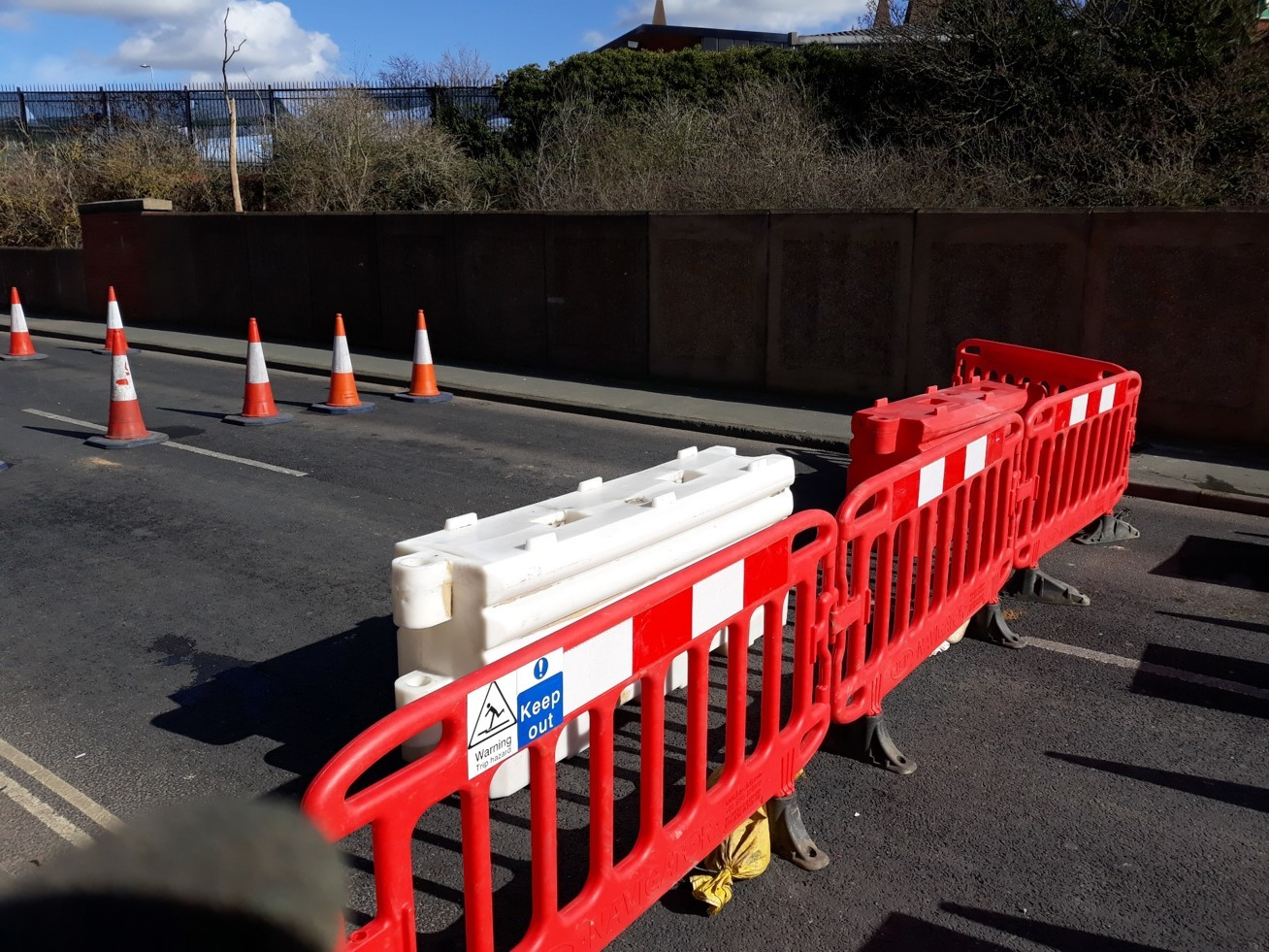 Blocked - barrier reinforcements in Ipswich Road