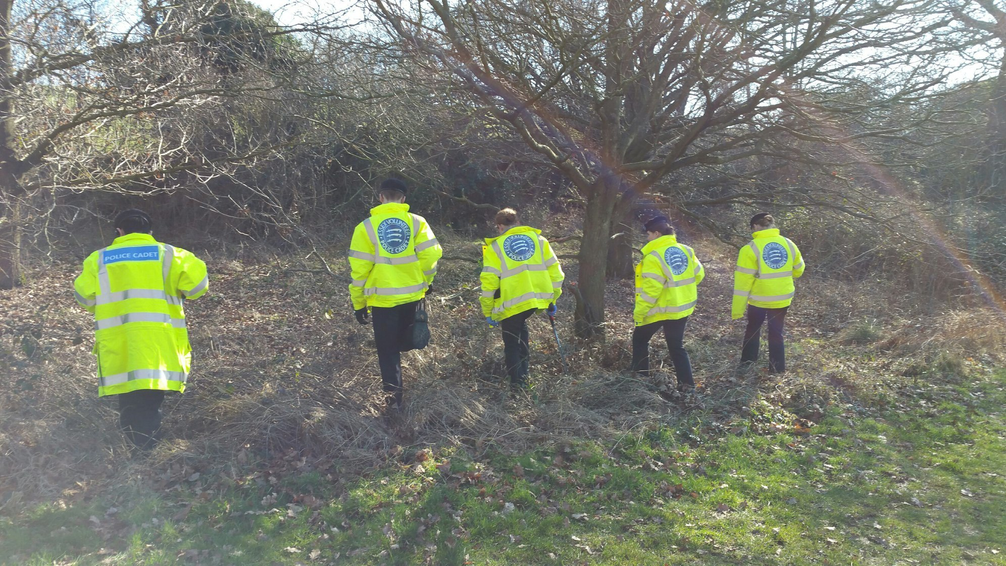 Search - police cadets searching Magnolia Fields in Greenstead, Colchester