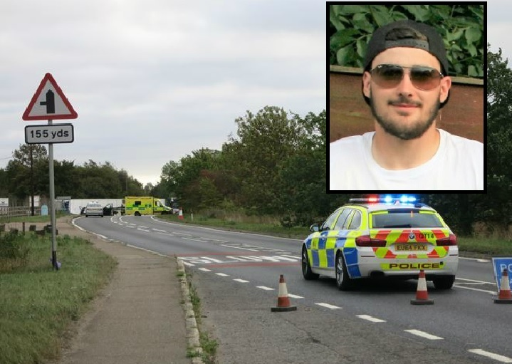The scene on the A120 and inset Robbie Trundley