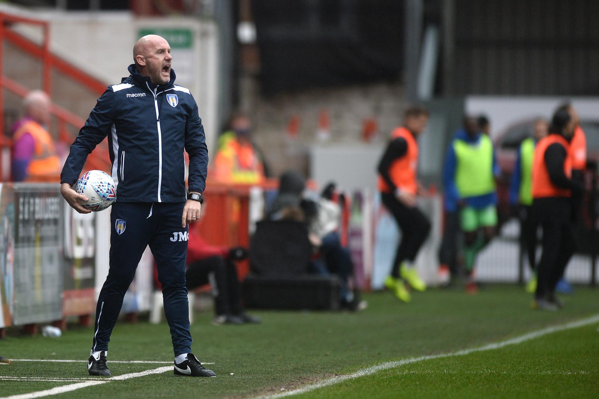 Work ethic - Colchester United head coach John McGreal at Exeter City Picture: RICHARD BLAXALL