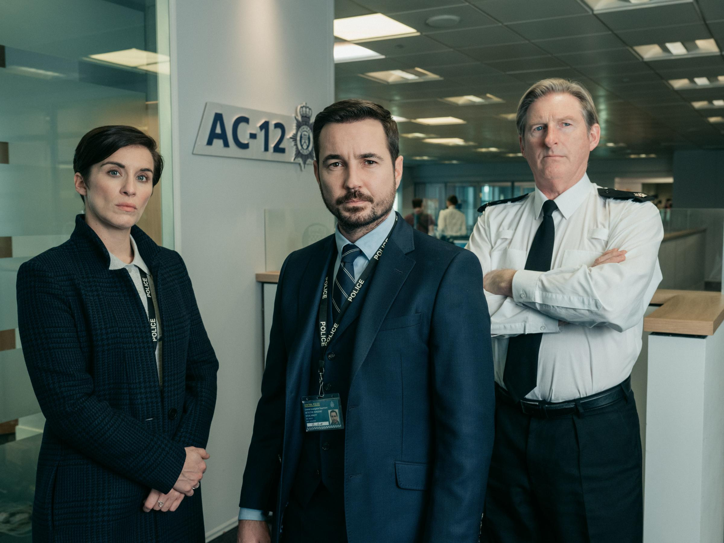 Line of Duty stars Vicky McClure as Detective Sergeant Kate Fleming, Adrian Dunbar as Superintendent Ted Hastings and Martin Compston as Detective Sergeant Steve Arnott.