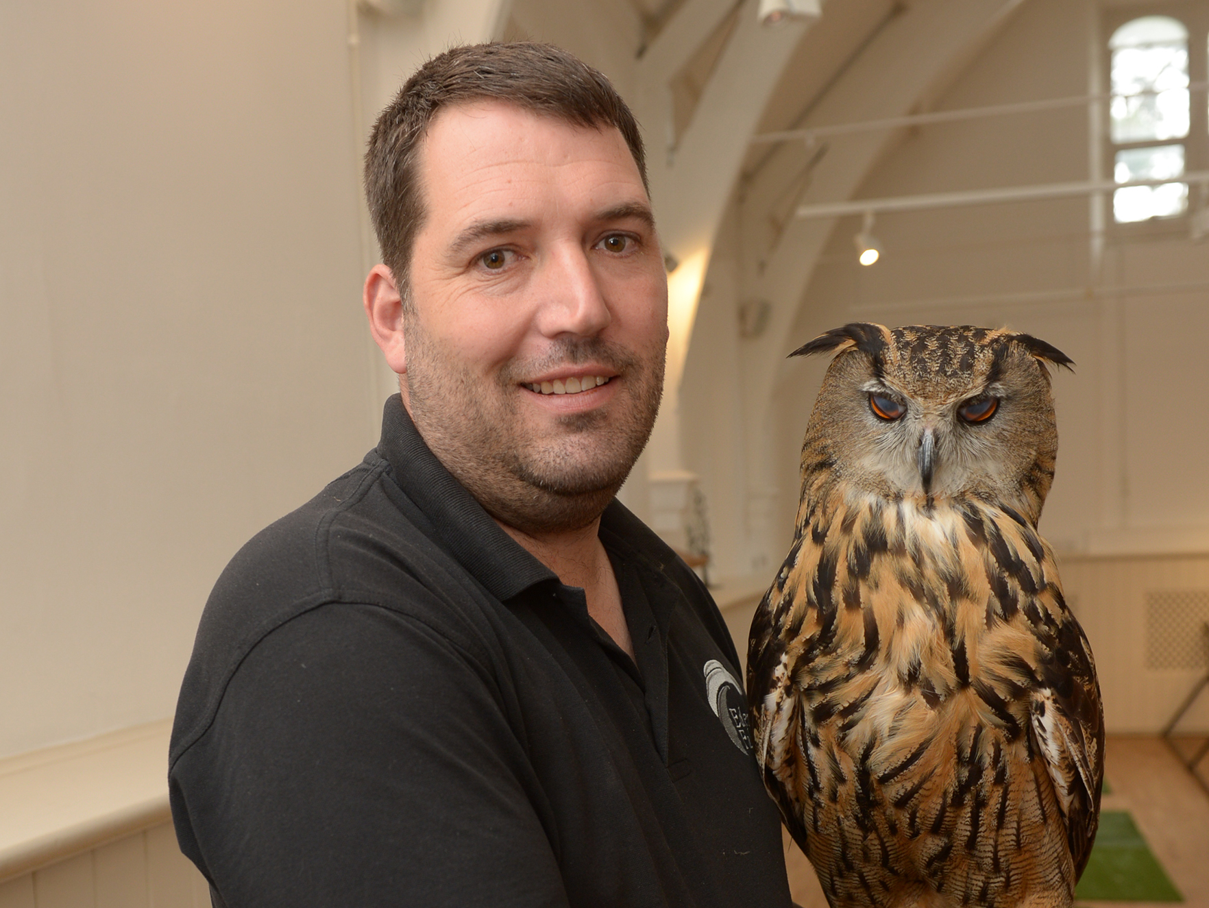 Andy Linford from from Eden Falconry.Braintree District Museum, Manor Street, Braintree.Harry Potter day at museum to celebrate launch of the new exhibition.  ..