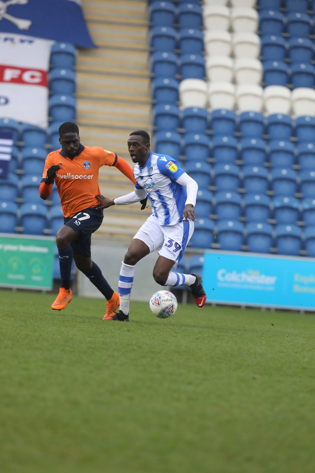 Wing play - Colchester United's Abo Eisa takes on Oldham's Christopher Missilou during the U's 2-0 loss Picture: STEVE BRADING