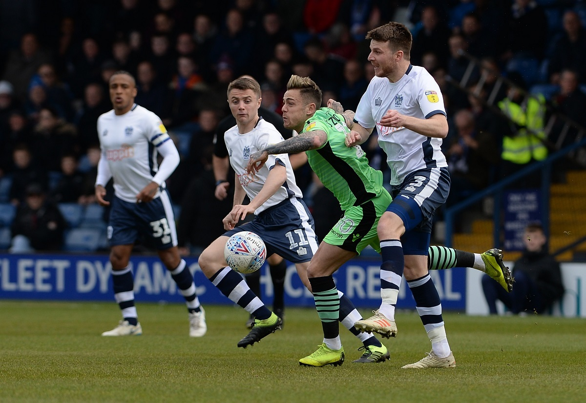 No room - Colchester United attacker Sammie Szmodics battles at Bury Picture: PAGEPIX
