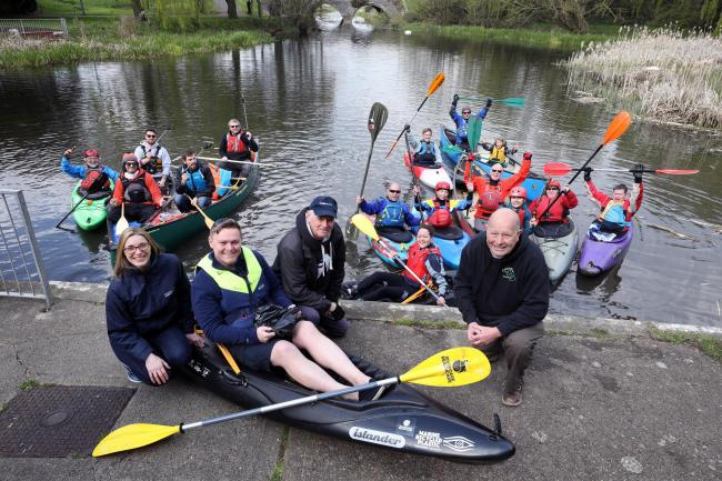 The group of kayakers at the launch of the event