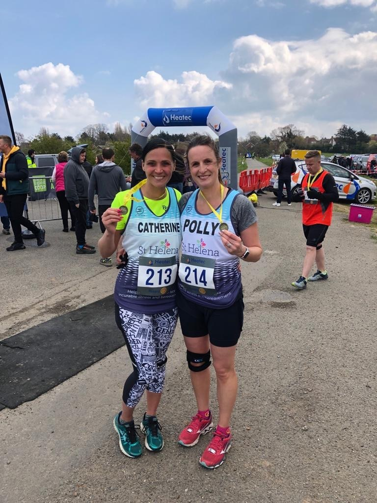 Bond  - Catherine Davies and Polly Baines who will be running the London Marathon 2019 for St Helena Hospice and who ran the Frinton Half Marathon on Sunday April 14